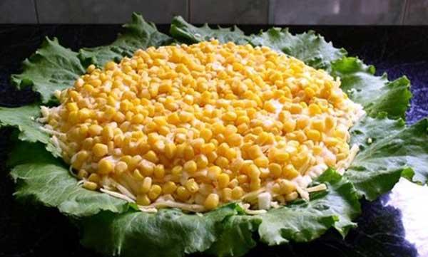 Рецепт салата подсолнух с кукурузой с