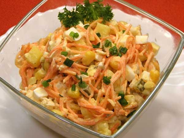 Рецепт салата с корейской морковкой и куриной грудкой