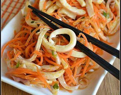 Морковь по-корейски с кальмарами в домашних условиях