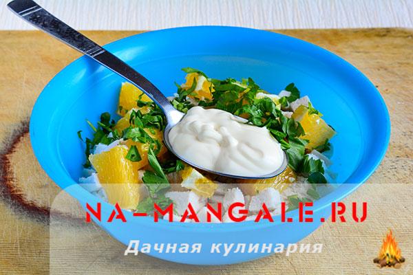Салат с апельсином и курицей: 3 лучших рецепта с фото