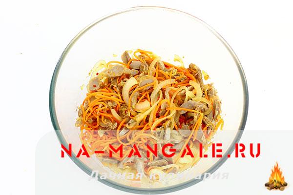 рецепт салата из желудков с корейской морковью