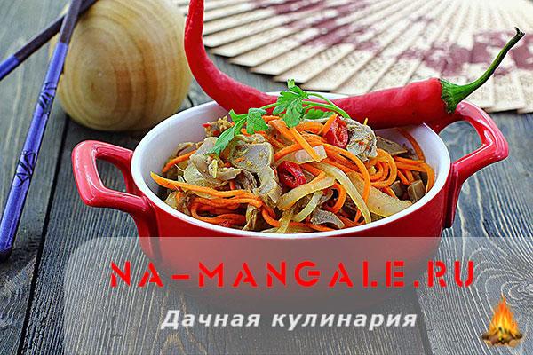 куриные желудки по корейски с морковью рецепт приготовления