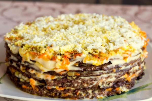 рецепт печеночного торта из говяжьей печени с морковью