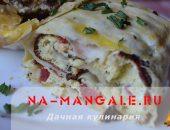 Миниатюра к статье Рулет из лаваша с омлетом, колбасой и болгарским перцем