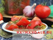 Миниатюра к статье Суточные малосольные помидоры с чесноком и зеленью в кетчуповом маринаде