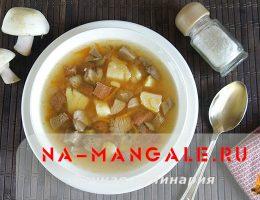 Готовим грибной суп с мясом и картошкой в мультиварке