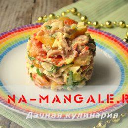 Варианты лучших салатов на основе куриного мяса и крабовых палочек