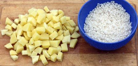 Картофель и рис для супа