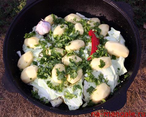 Закладываем картофель на димляму