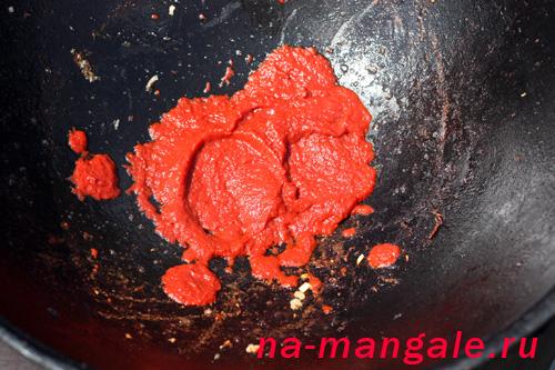 Обжарка томатной пасты