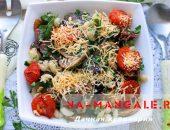 Миниатюра к статье Теплый салат с баклажанами и макаронами