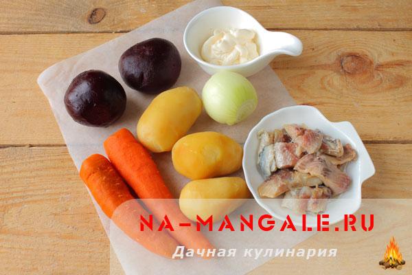 Продукты для салата Селедка под шубой