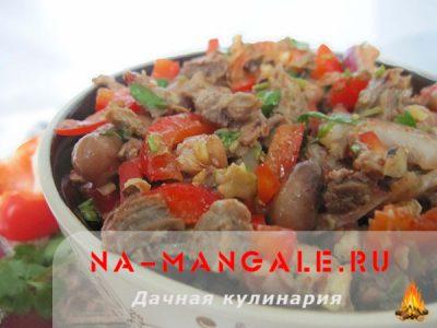 Как сделать тбилисский салат с фасолью