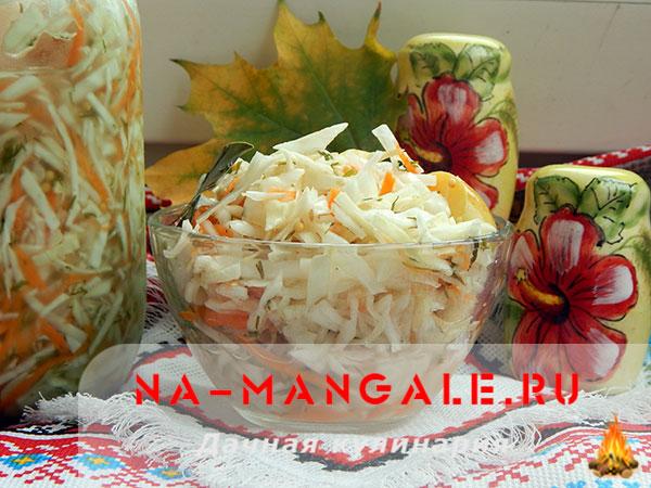 Моченые яблоки с капустой на зиму простой рецепт пригттовления с картинками