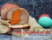 Миниатюра к статье Ароматный рулет из свиной пашины с начинкой из моркови, запеченный в духовке со специями