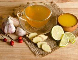 Чеснок, имбирь, мед и лимон